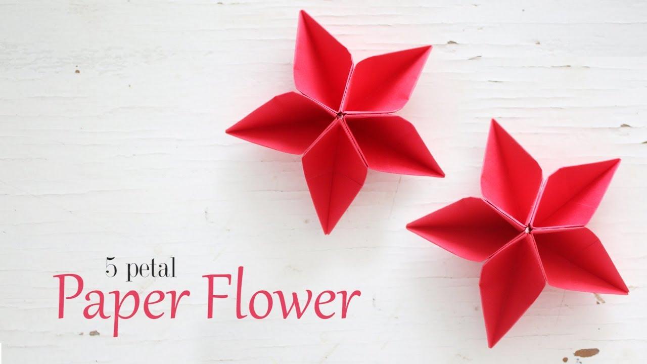 Diy 5 Petal Paper Flowers Youtube