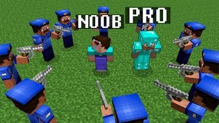 Minecraft Noob vs. Pro : THE POLICE SURROUNDED - prison jailbreak challenge 7 - Minecraft Battle