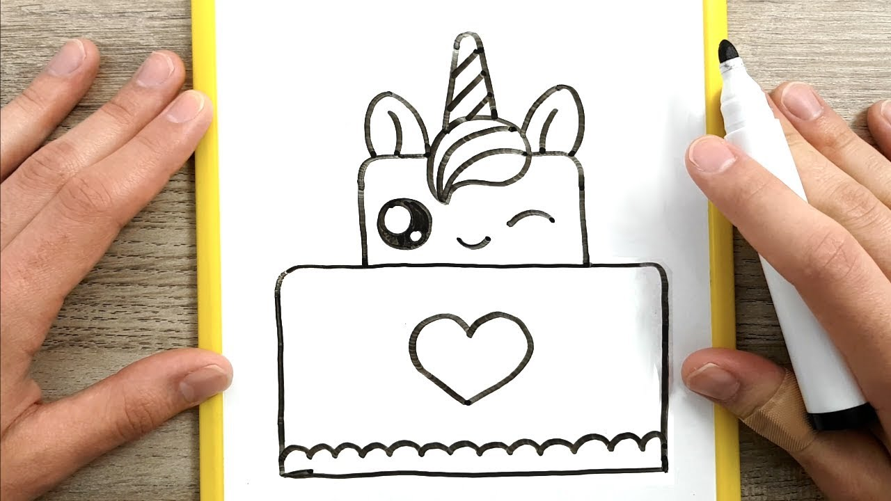 Come Disegnare Una Torta Unicorno Kawaii Disegni Facili Youtube