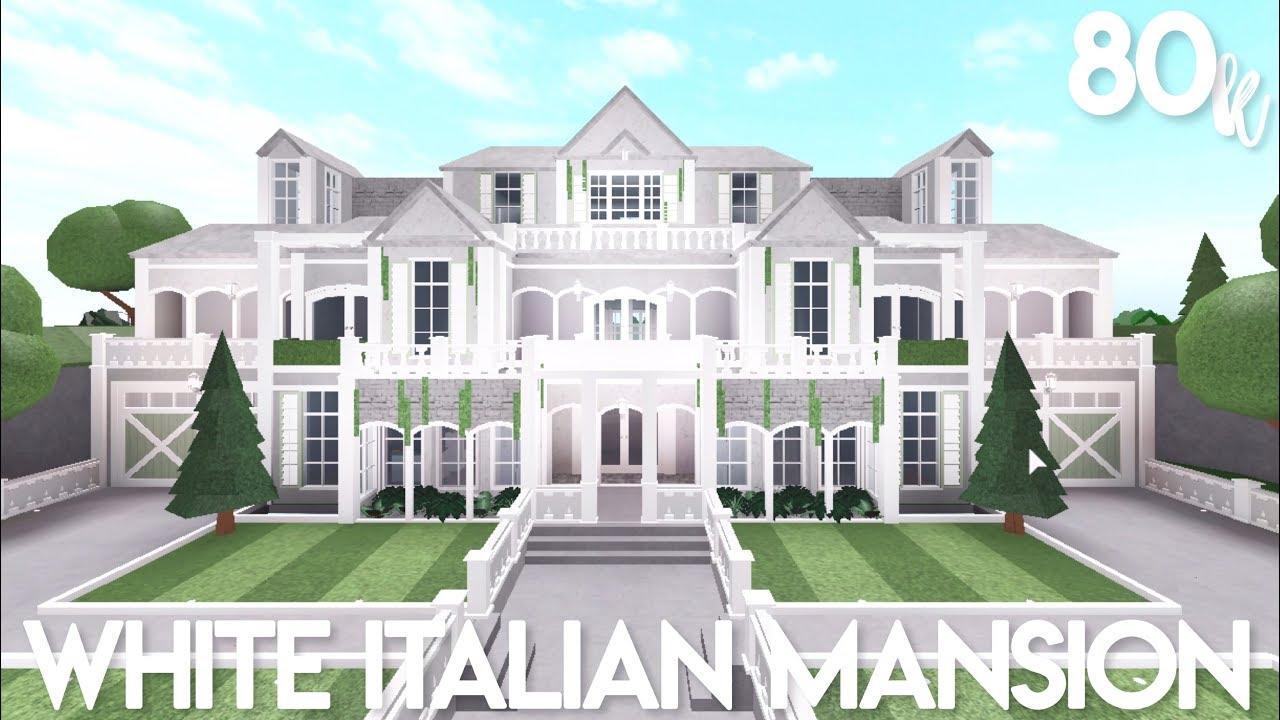 Bloxburg: White Italian Mansion   Exterior Speed Build ...