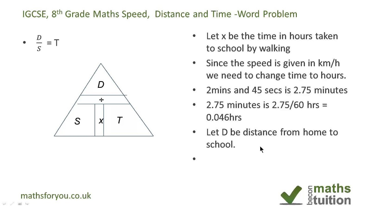 Distance, speed and time word problem - iGCSE, GCSE, 8th Grade ...