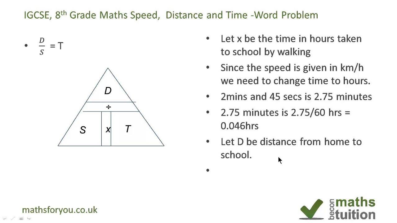 Dist Nce Speed Nd Time W D Problem Igcse Gcse 8th Gr De
