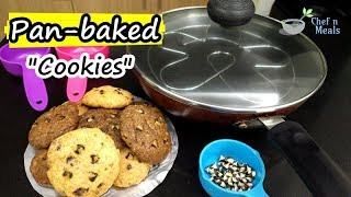 Chocolate Chips Cookies in Fry Pan I Eggless & No Oven Cookies