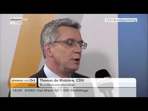 CDU-Parteitag in Karlsruhe: Thomas de Maizière im Interview am 14.12.2015