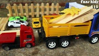 Mainan truk grobak mengangkut kayu, truck trailers & mobil mobilan lamborghini