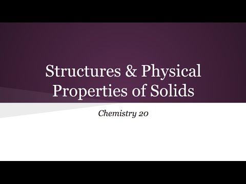 Unit A - 7. Structures & Physical Properties of Solids