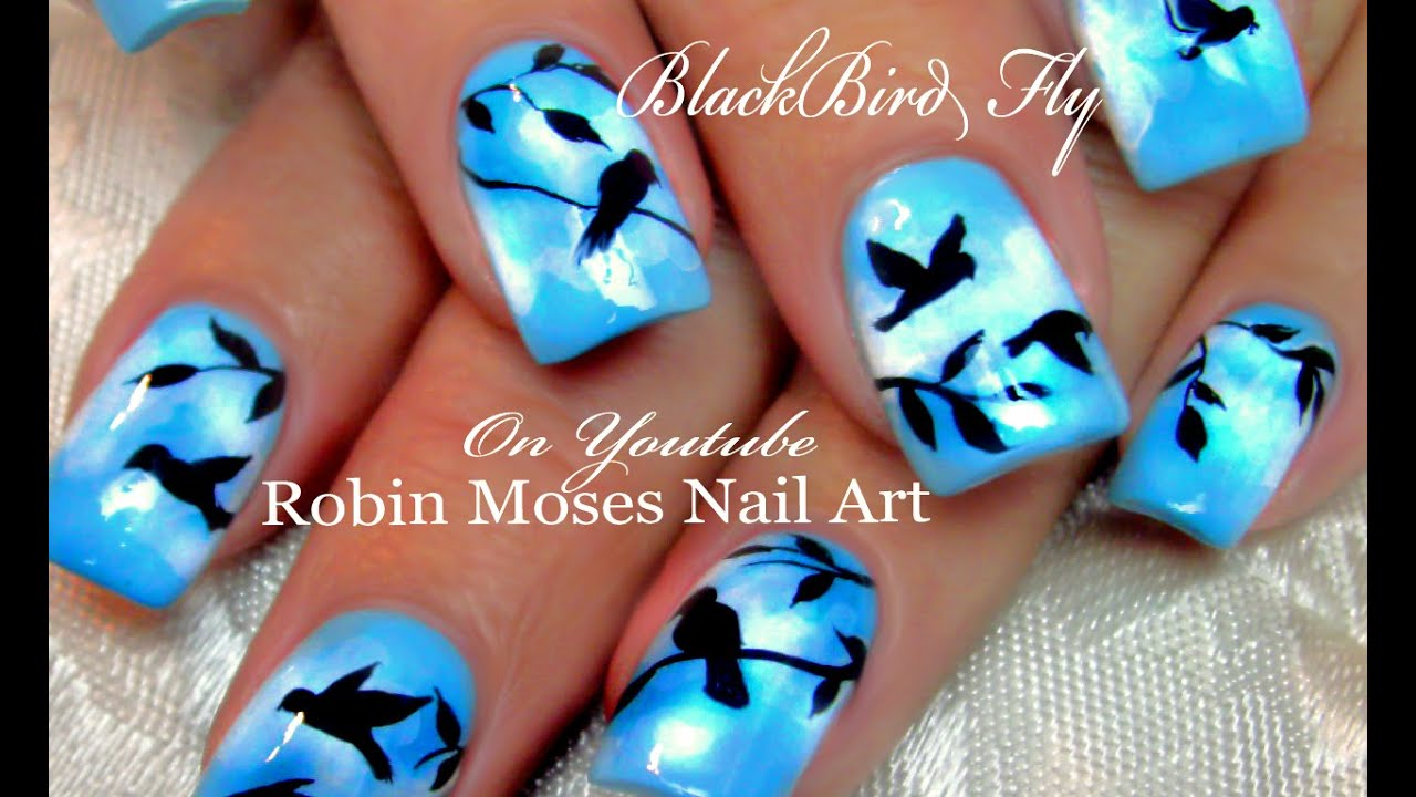 DIY Flying Black Bird Nails | Birds Nail Art Design ...