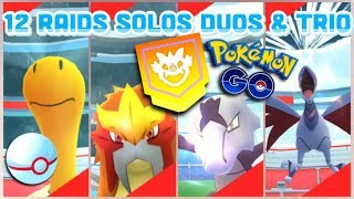 12 RAID BATTLES IN POKEMON GO | Solos, Duos \u0026 Trio | Skarmory, Shuckle, Entei \u0026 more