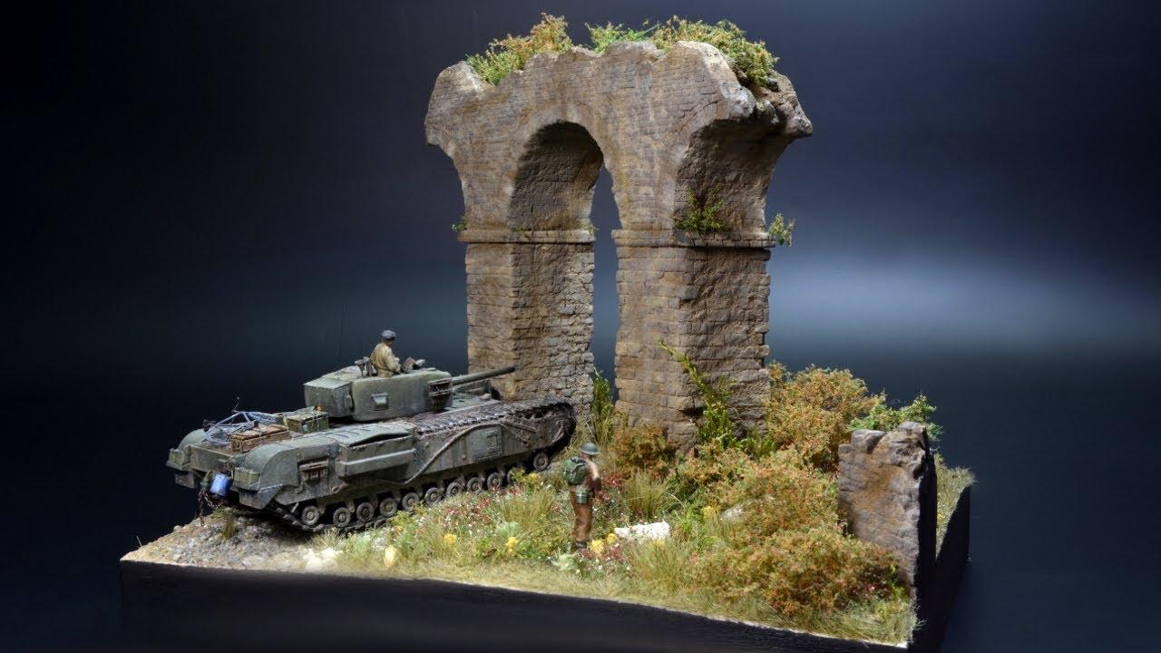 Churchill MK IV - Aqueduct - All Roads Lead to Rome - 1/72 - Diorama
