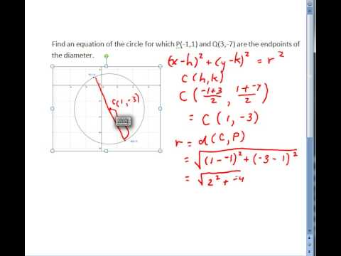 Find the equation of a circle given the endpoints of its diameter find the equation of a circle given the endpoints of its diameter ccuart Image collections