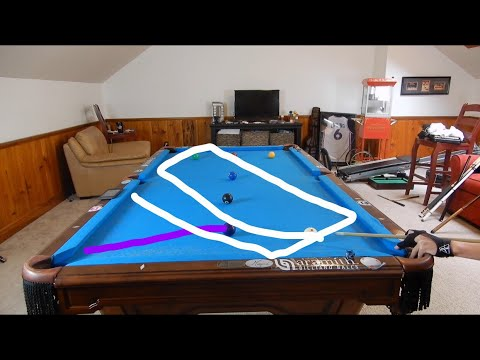 Judd Trump exhibition shots recreated on a pool table