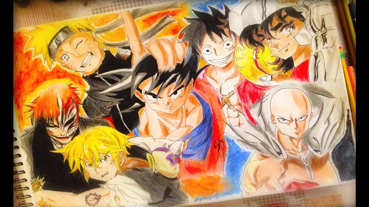 Dibujando personajes de animes Shonen  Goku Naruto Luffy