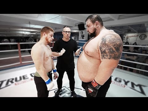 Giant russian strongman 220kg vs Street fighter Wushu master 77kg / Crazy fight with KO