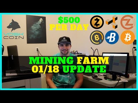 How My Cryptocurrency Mining Farm Makes ~$500 USD A Day - VoskCoin 01/18 Update