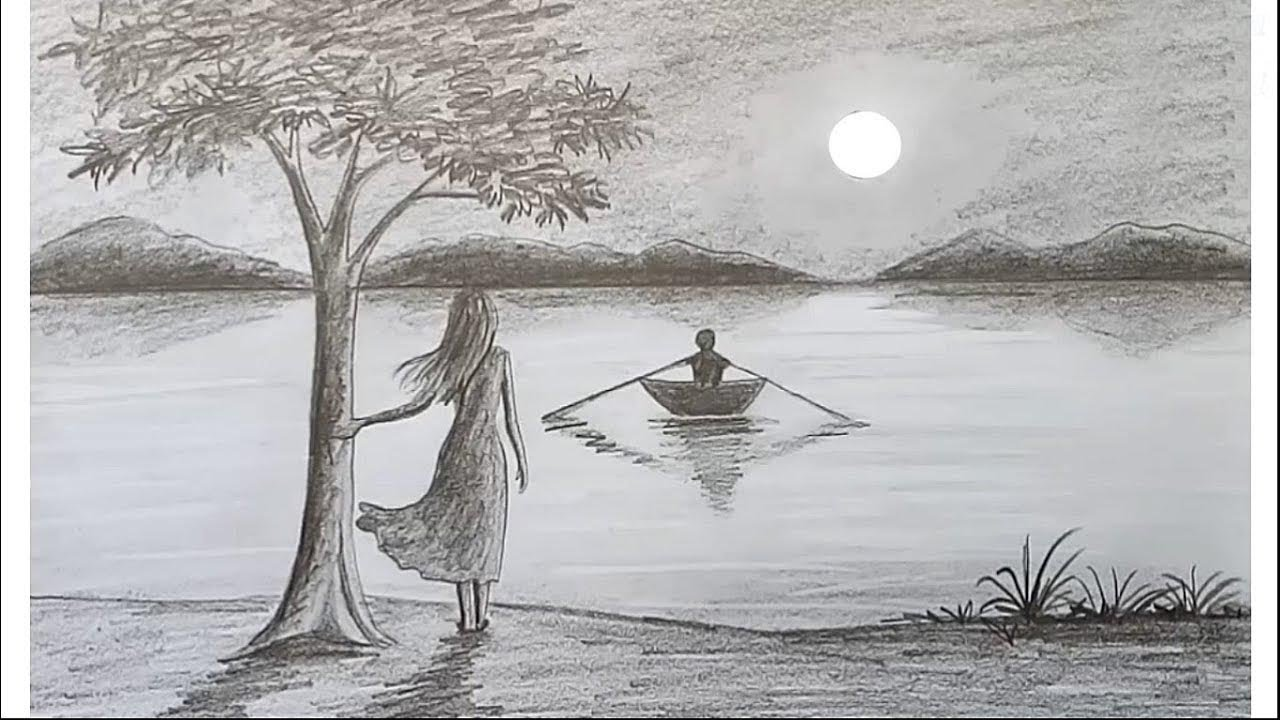 How to draw scenery of moonlight night by pencil sketch step by step