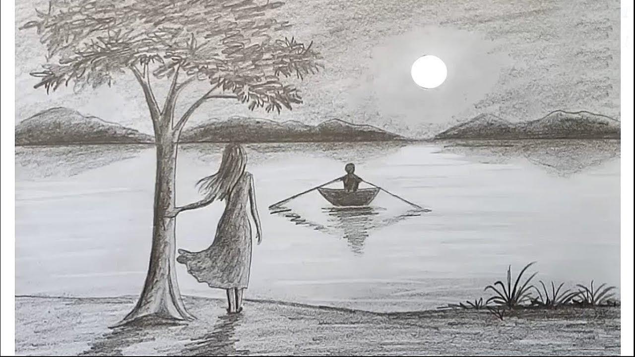 Draw scenery of moonlight