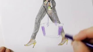 Drawing Tutorial - How to Draw a Girl Walking