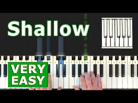 Lady Gaga - Shallow - Piano Tutorial VERY EASY - Sheet Music (Synthesia)