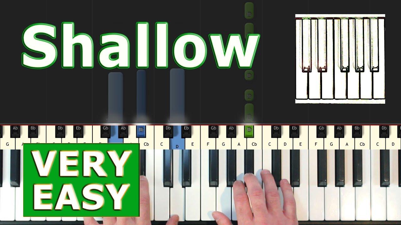 Lady Gaga Shallow Piano Tutorial Very Easy Sheet Music Synthesia Youtube