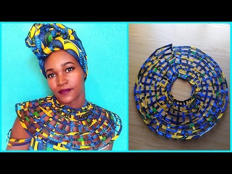 How to- Cape web necklace- Paper Method- African Print Ankara DIY