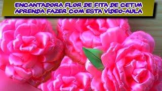 Veja Como Fazer Esta Adorável Flor De Fita De Cetim Rosa DIY PAP Vídeo Aula