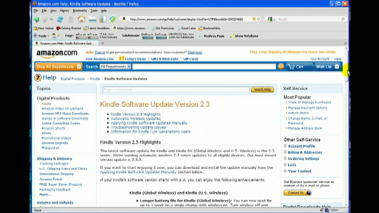 kindle 2 firmware update
