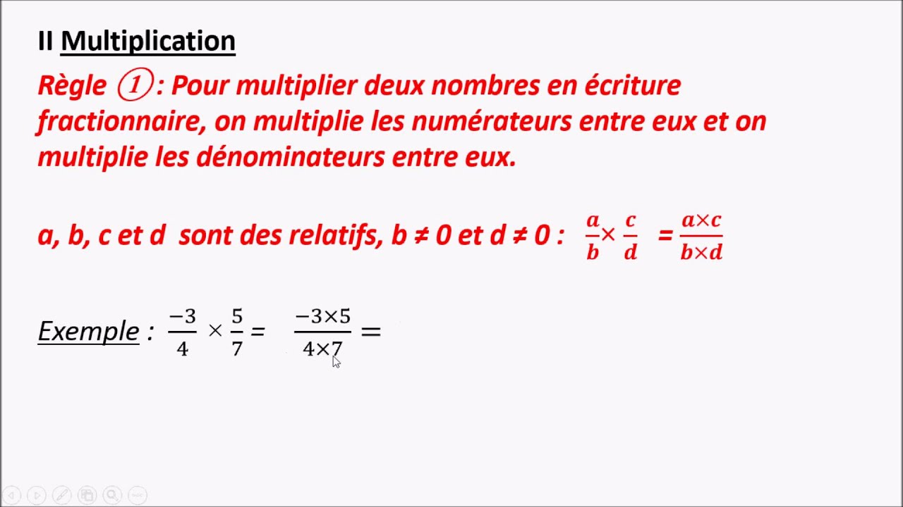 Niveau 4eme Multiplication De Fractions Youtube