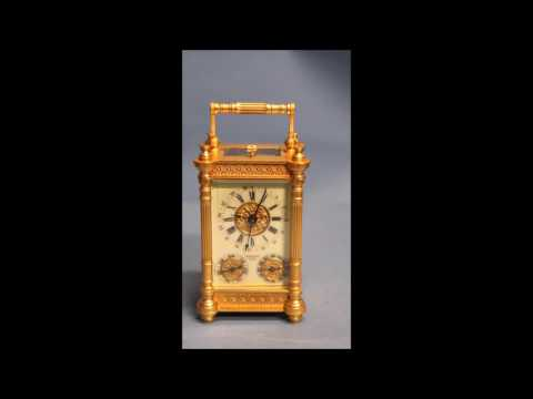 c.1900 French Gilt-Bronze Carriage Clock with Calendar Dials.
