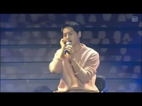 [ENGSUB] 160521 Song Joong Ki Fanmeeting in Wuhan, China - Singing '정말' (Really) Innocent Man OST