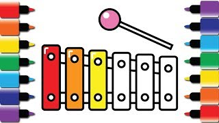 How to draw colourful Xylophone - Drawing and Colouring book for kids fun