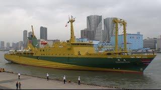 東海汽船 東京港竹芝桟橋に超信地旋回で入港接岸する橘丸を撮ってみた