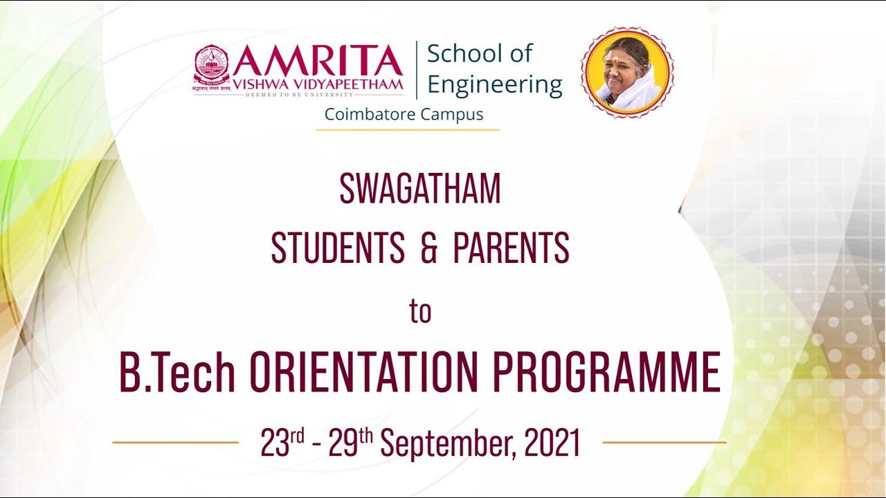 Download Swagatham 2021 - B.Tech. Orientation Program - Sep 23 - Amrita School of Engineering - Coimbatore