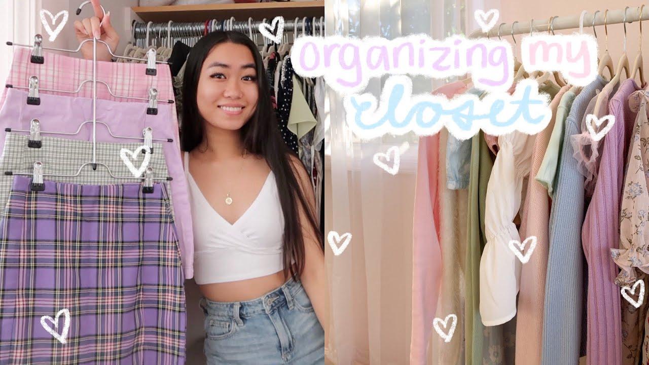 organizing my closet *aesthetic + satisfying*