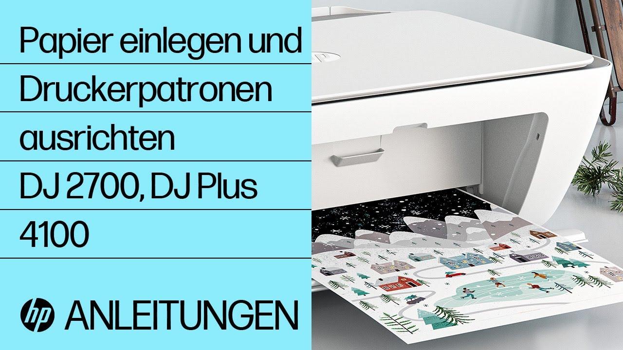 So legen Sie bei Druckern der Serien HP DeskJet 10 und DeskJet Plus 10  Papier ein und richten die Druckerpatronen aus