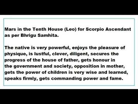 mars in 10th House for scorpio Ascendant as per Bhrigu Samhita - YouTube