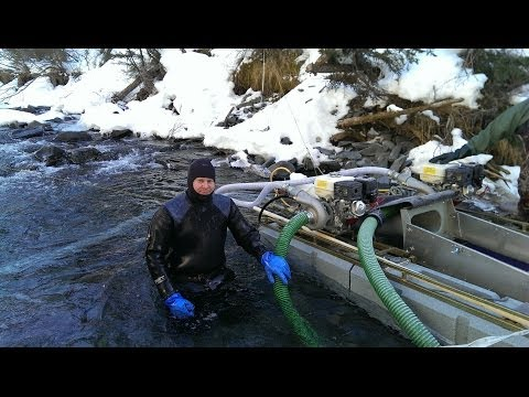 Gold mining / dredging in winter and summer, Alaska