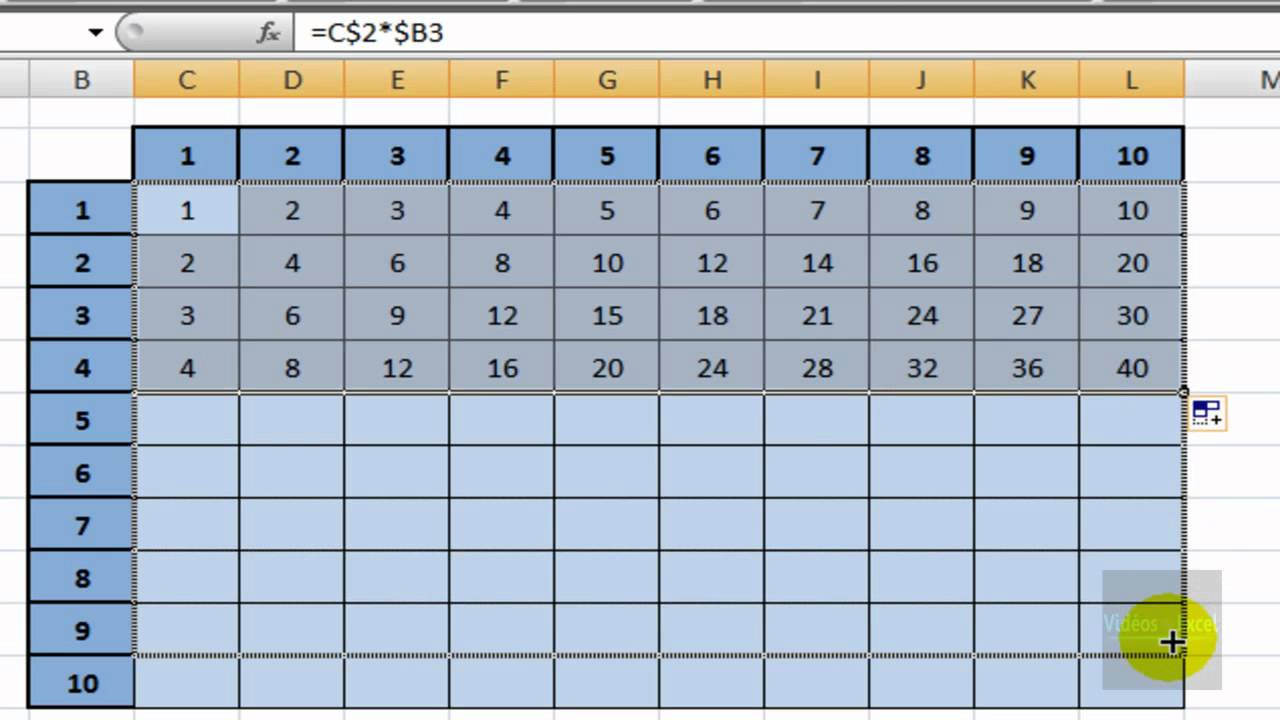 Excel 2007 T A Creer Une Table De Multiplication Youtube