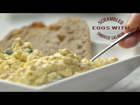 Scrambled Eggs With Cream Cheese, Smoked Salmon, And Spinach | How To Make A Delicious Breakfast