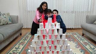 Ayşe Ebrar Kırmızı Kaydıraktan Kaydı Bardaktan Kuleleri Yıktı | for kids video
