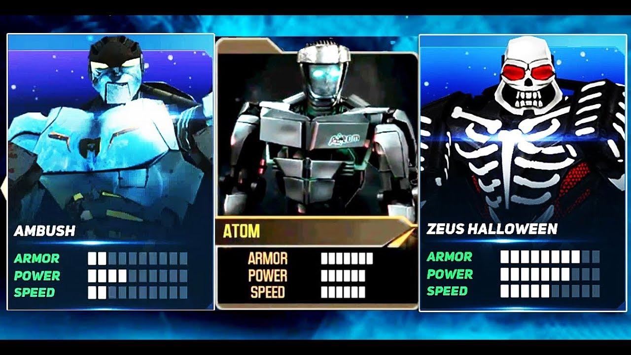 real steel atom & ambush & zeus halloween | boss noisy boy - arcade
