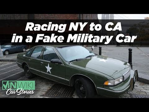 Racing across the country in a fake military vehicle