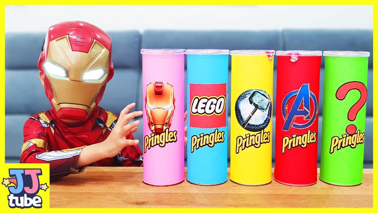 프링글스 뚜껑을 열면 슈퍼히어로가 뿅! 레고 마블 장난감 상황극 놀이 Making Pringles with Lego Marvel Superheros [제이제이 튜브-JJ tube]