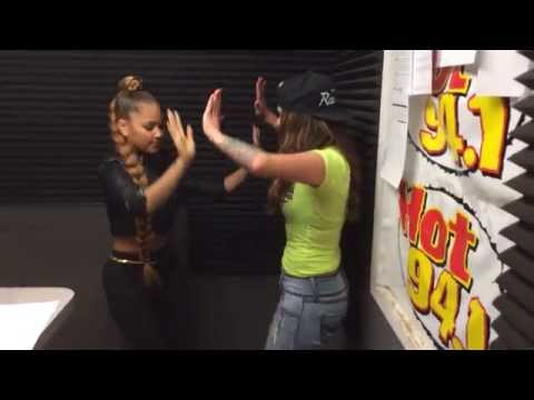 Kat Deluna Teaching Mo Dance Moves at Hot 94.1 Bakersfield