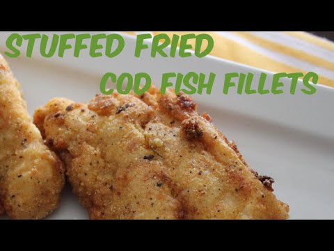 Stuffed Fried Cod Fish Fillets - Crab And Shrimp Stuffed Cod