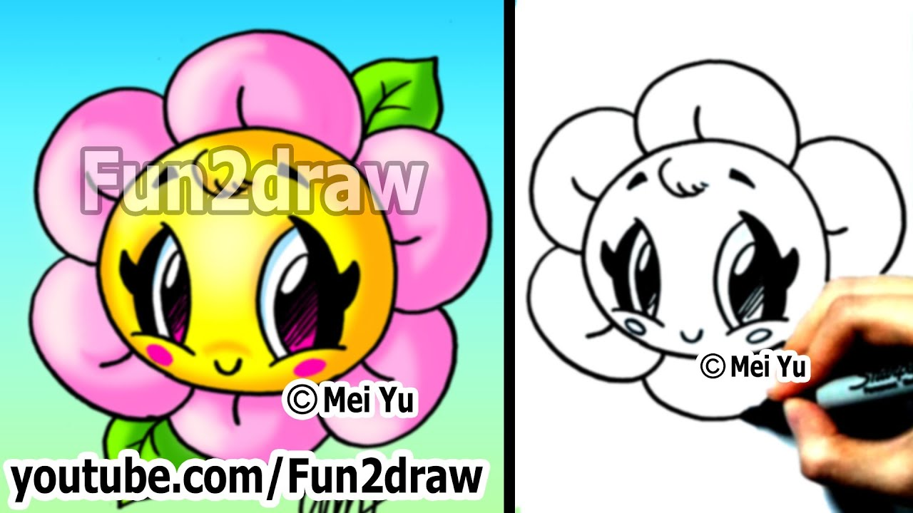 Cute Easy Drawings Of Flowers Kawaii Tutorial How To Draw A Flower
