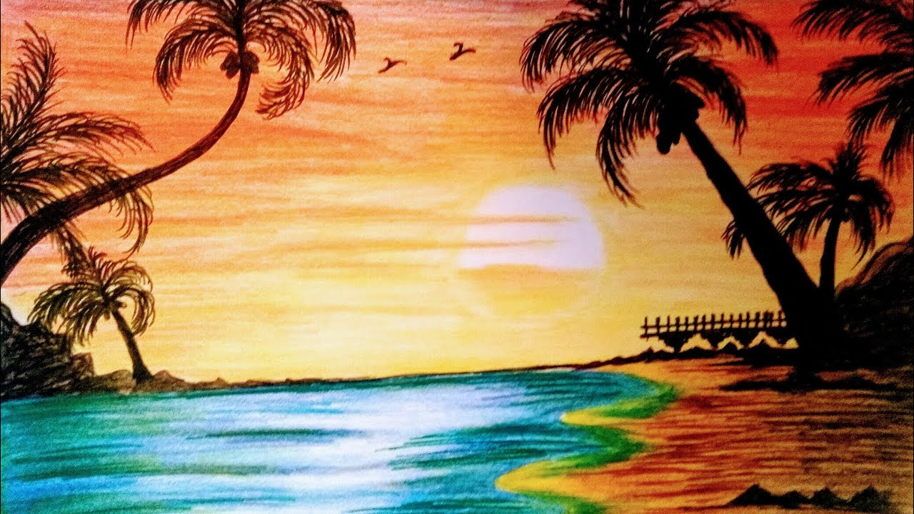 How to draw sunset beach landscape drawing with color ...