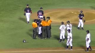 <日米大学野球2013>フィナガン投手の岡大海選手への死球シーン