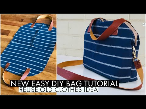 DIY BAG/ CROSSBODY BAG/HANDBAG/SHOULDER BAG/ RECYCLE OLD CLOTHES/BOLSA DIY/ 巾着バッグ 作り方/DIY กระเป๋าผ้า
