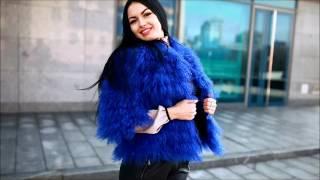 Полушубок из меха ламы, цвет синий, воротник полу стойка(Магазин меховых изделий
