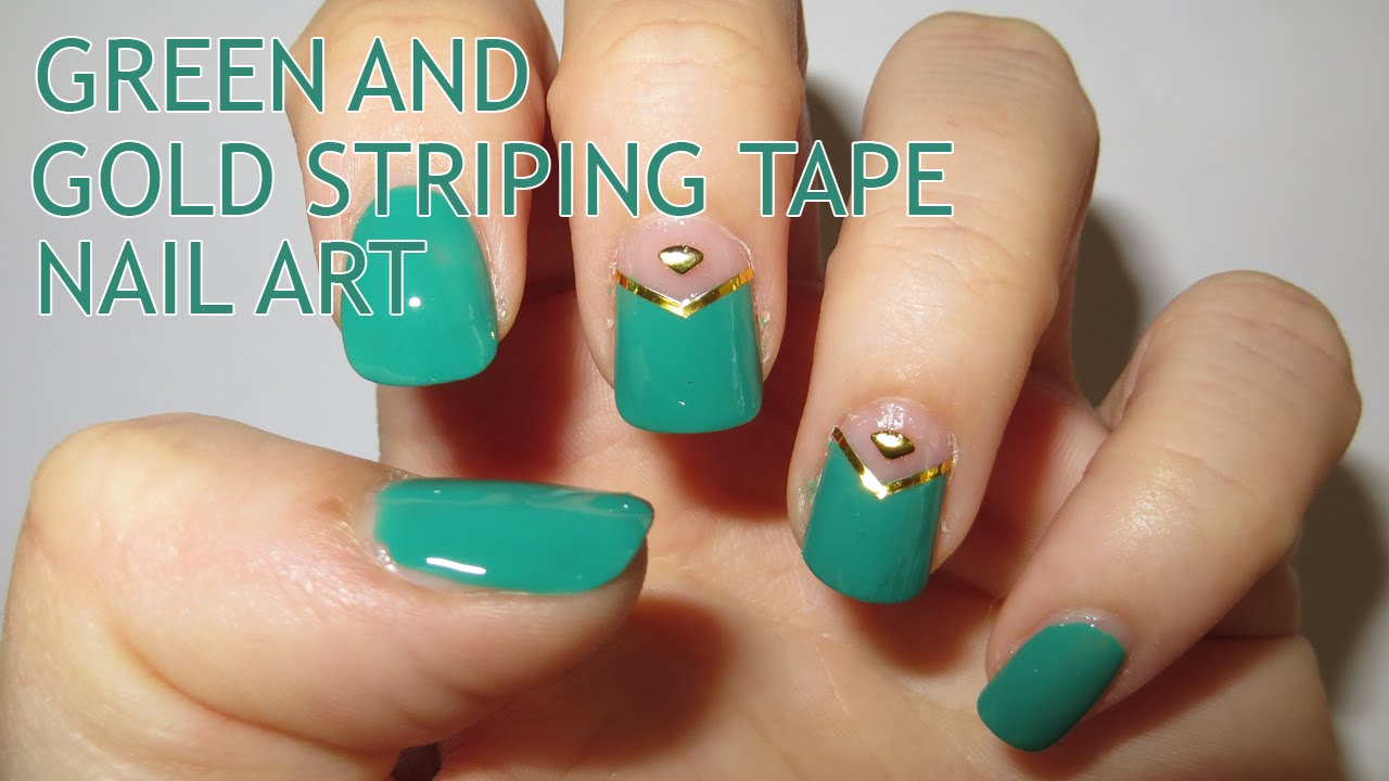 Green And Gold Striping Tape Nail Art Youtube